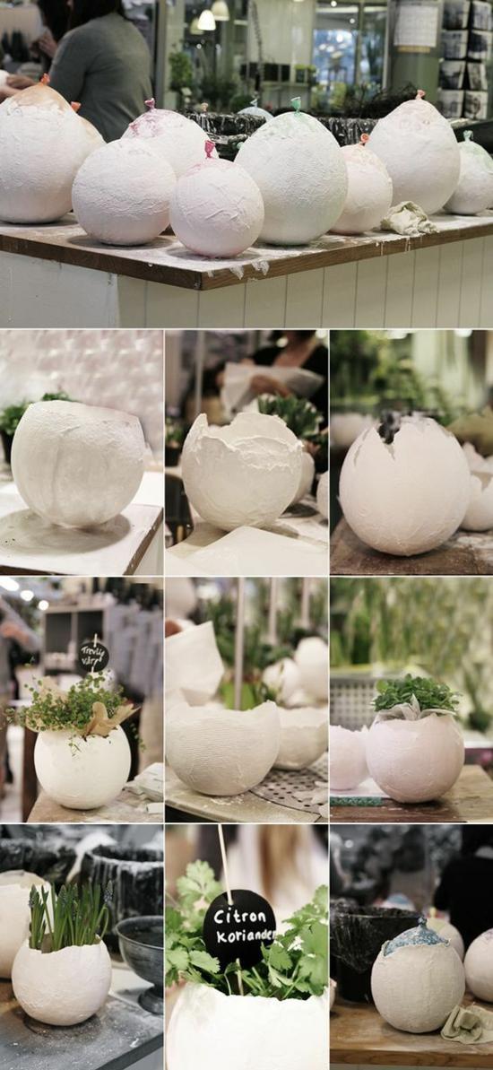 osterdeko aus beton ostrebasteln eierschalen vasen
