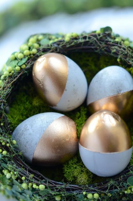 ostereier aus beton gold puristische osterdeko selber machen