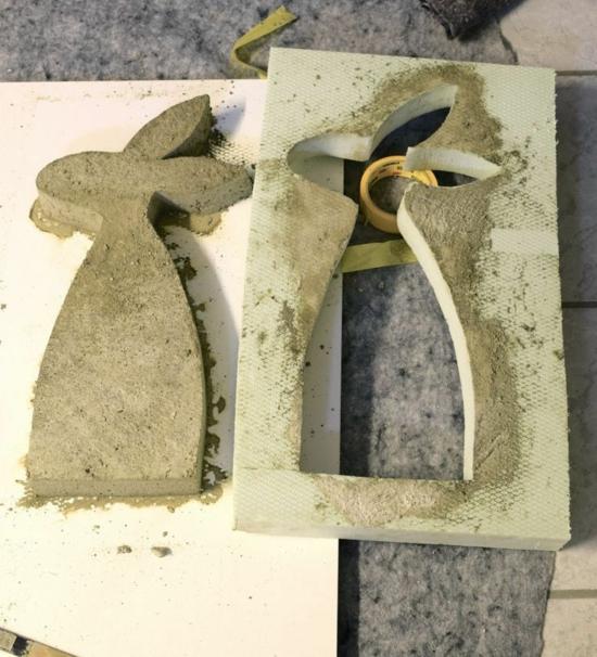 osterhasen basteln mit beton zu ostern
