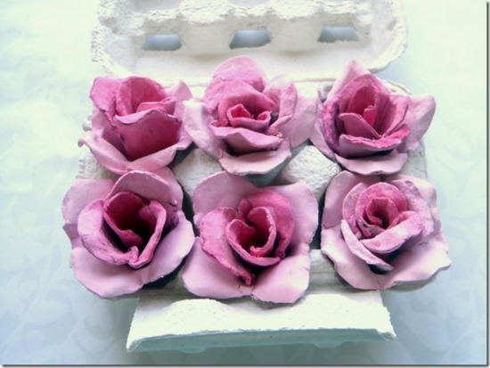 rosen basteln mit eierkarton frühlingsdeko selber machen