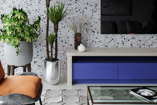 wohnideen - marmorwand und möbel - schrank