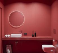 Kühne Gestaltungsideen für bezaubernde Badezimmer in Rot