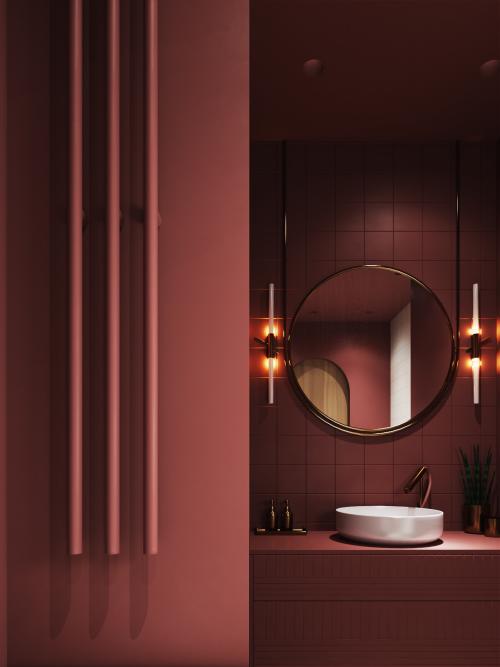 Badezimmer in Rot schönes stilvoll gestaltetes Bad in sanfter Rotnuance runder Spiegel Wandlampen rundes weißes Waschbecken