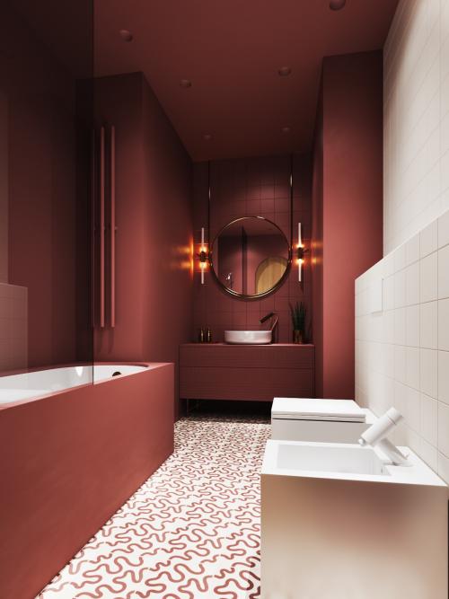 Badezimmer in Rot schickes Bad geräumig sanfte Nuance mit weiß kombiniert Badewanne Waschtisch Waschbecken Wandspiegel