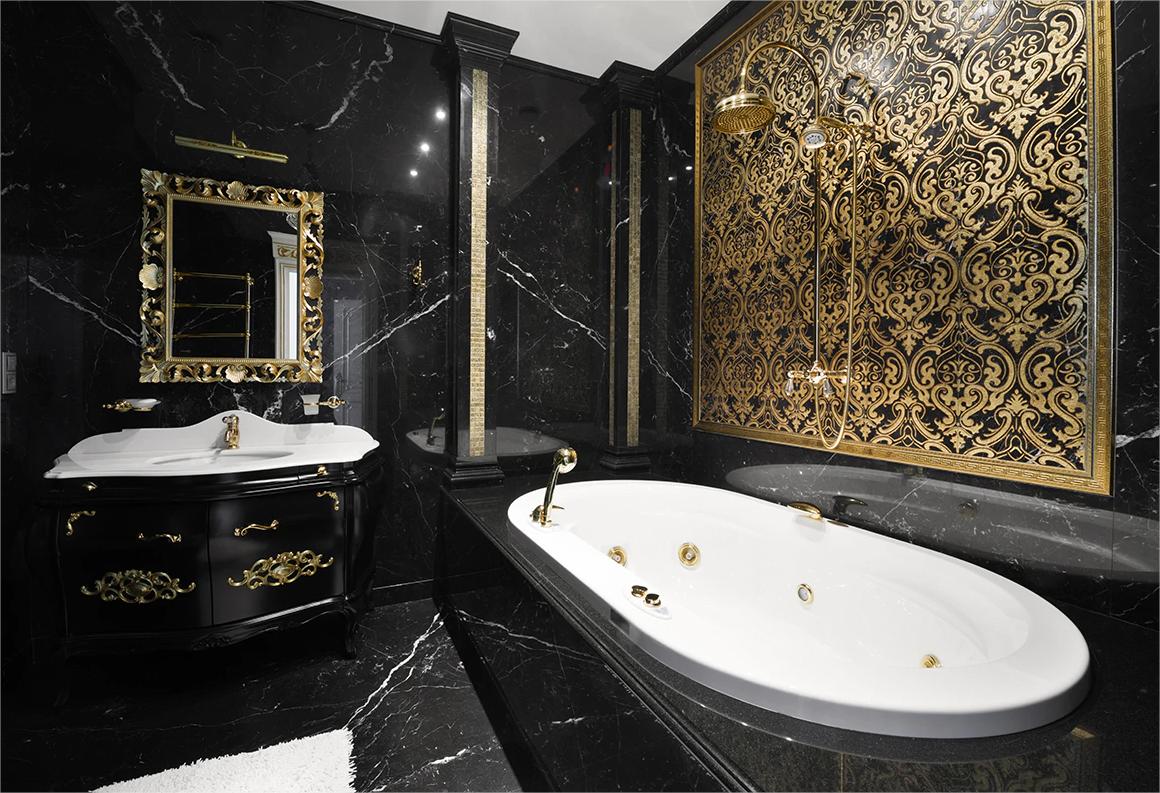 Badezimmer in Schwarz und Gold – ein Mix von Luxus, Stil und ...