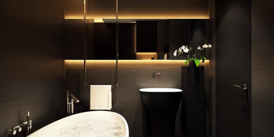 Badezimmer in Schwarz und Gold eingebautes Licht sehr trendy im modernen Baddesign