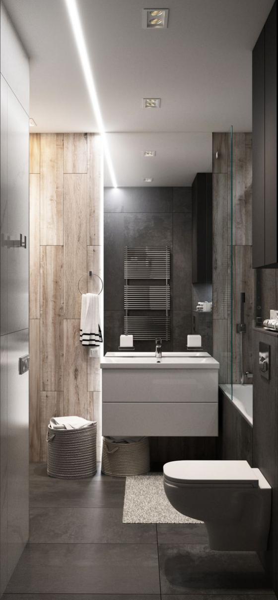 Badfliesen in Holzoptik kleines Bad eng lang WC schön gestaltet