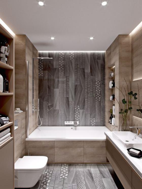 Badfliesen in Holzoptik schönes Badezimmer leicht gemusterte Fliesen in Grau