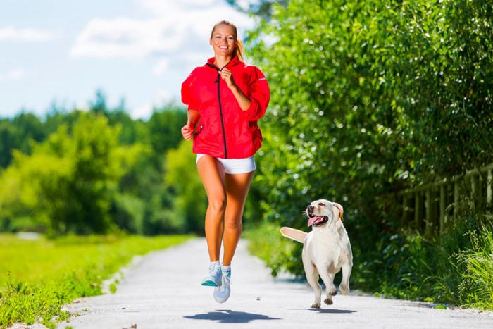 Corona-Krise und Hunde junge Frau joggen in Begleitung ihres Hundes