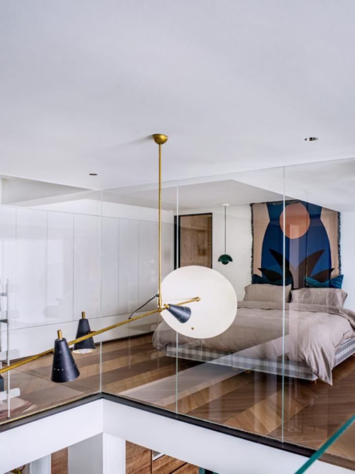 Designerwohnung in China Schlafzimmer Ästhetik pur Glaswand