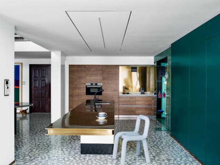 Designerwohnung in China moderne Küche viereckige breite Kücheninsel