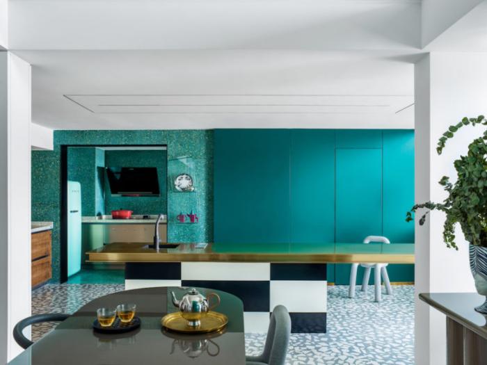 Designerwohnung in China modernes Apartment bringt Persönlichkeit des Designers zum Ausdruck