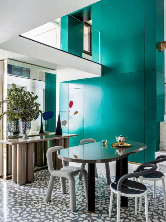 Designerwohnung in China offenes Ambiente auf zwei Stufen gelegen sehr interessantes Raumkonzept