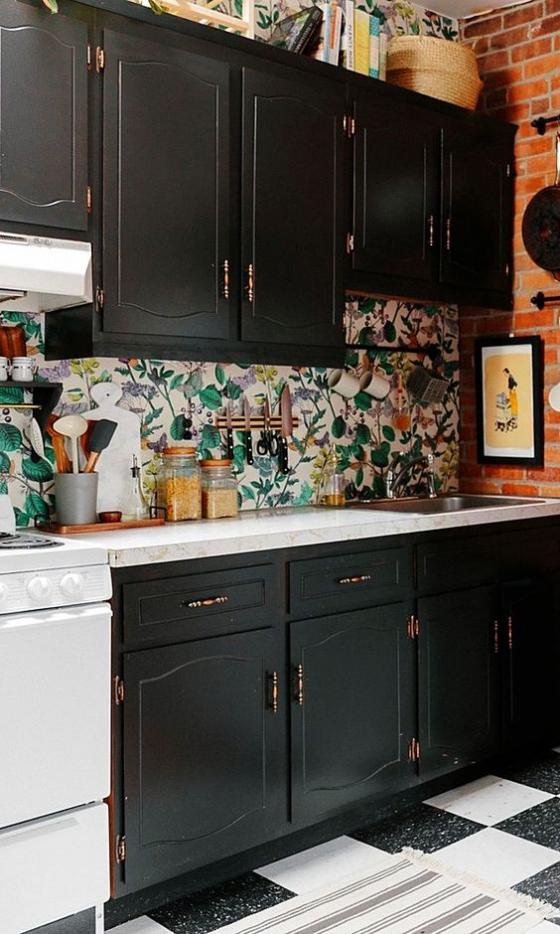 Küchenrückwand mit Blumentapeten schöne bunte Blumenmuster