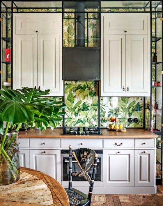 Küchenrückwand mit Blumentapeten schönes Design Tapete mit Pflanzenmotiven keine Grenze zwischen drinnen und draußen