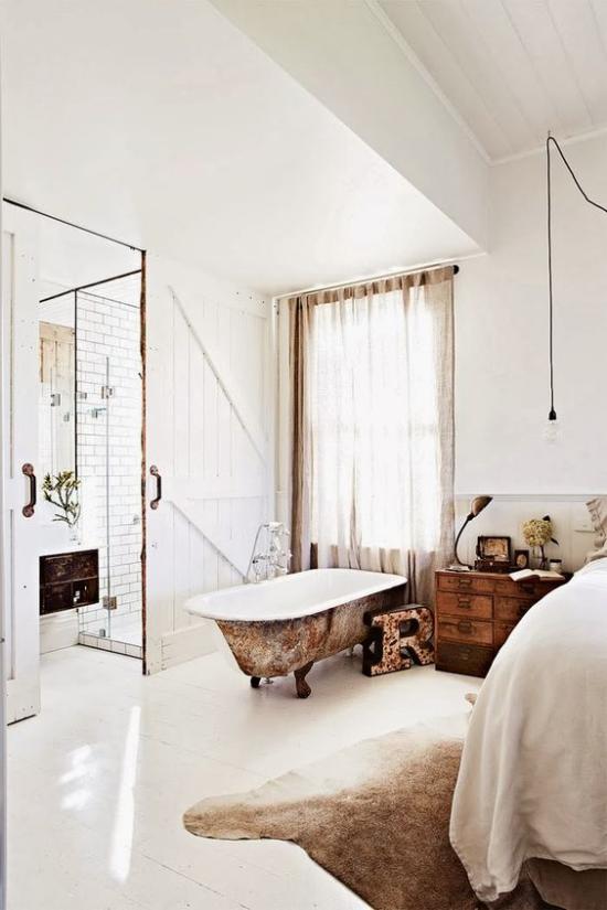 Multifunktionale Räume Schlafzimmer Badewannen weiß und Braun kombinieren