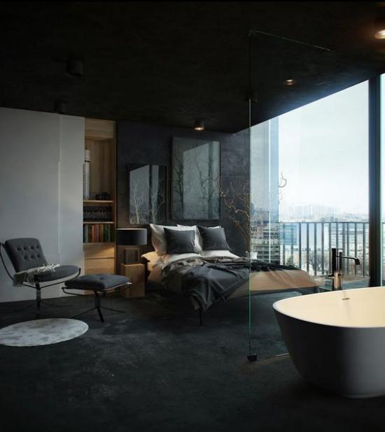 Multifunktionale Räume dunkles Schlafzimmer sehr elegant gestaltet Dunkelgrau dominiert Badewanne durch Glaswand getrennt