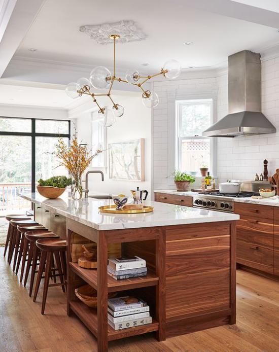 Multifunktionale Räume gemütliche Küche und Esszimmer in einem Kücheninsel Esstisch
