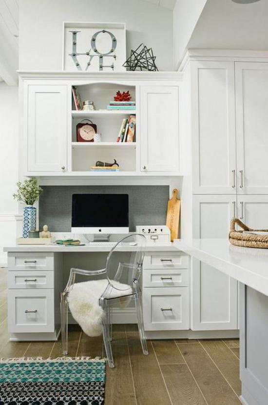 Multifunktionale Räume gemütliches Homeoffice in weiß wenig Platz doch sehr gemütliche Gestaltung