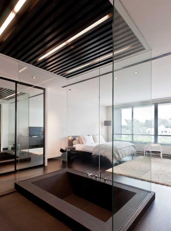 Multifunktionale Räume modernes Badezimmer Teil des Schlafzimmers