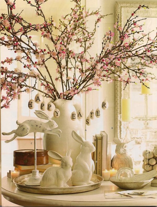 Ostern-Tischdeko Zweige mit Buchstaben - sehr schön