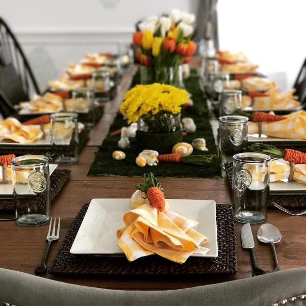 Ostern-Tischdeko grelle Ideen für die Servietten
