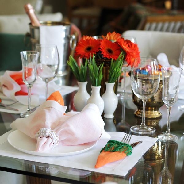 Rot und Orange Ideen Ostern-Tischdeko