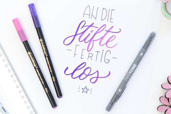 Schönschrift lernen und meistern Grundlagen der Kalligrafie an die stifte fertig los handlettering lernen
