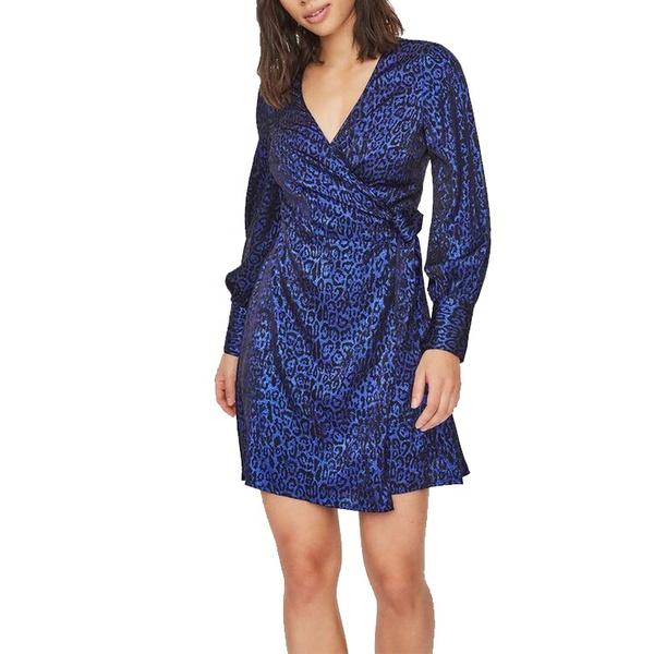 Sommerkleider - blaues Kleid mit langen Ärmeln