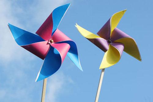 Windrad Selber machen Basteln mit Kindern Ideen