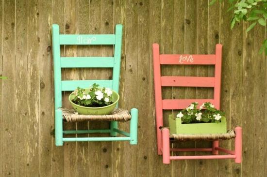 diy gartendeko alte stühle küchensieb pflanzkübel