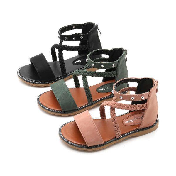 drei modelle mit doppelten schnürren schöne sandalen