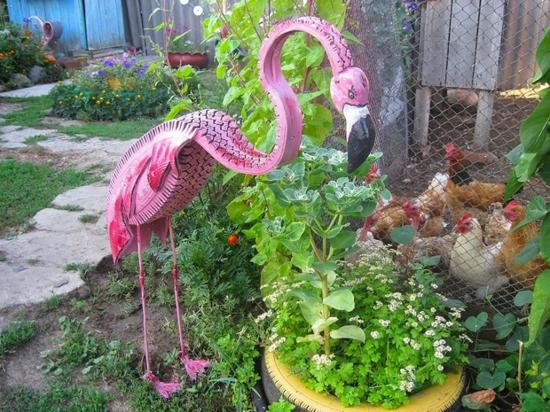 flamingo aus alten autoreifen basteln gartendeko ideen
