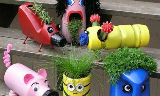 gardendeko selber machen mit kindern aus plastikflaschen