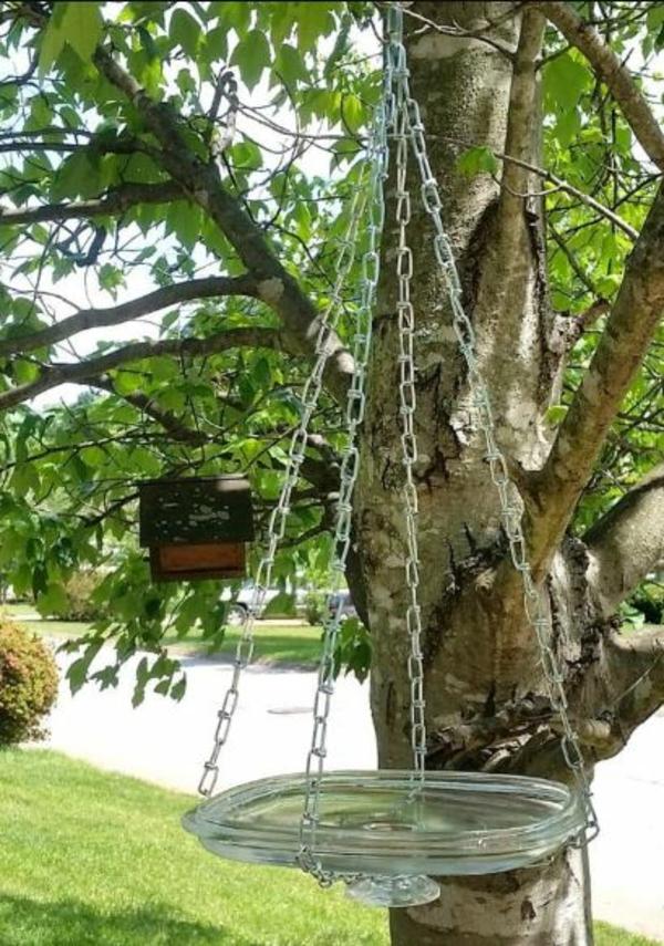 hängende vogeltränke glasdeckel