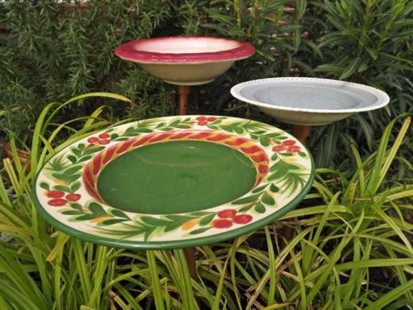 keramikteller vogeltränke auf stab selber machen