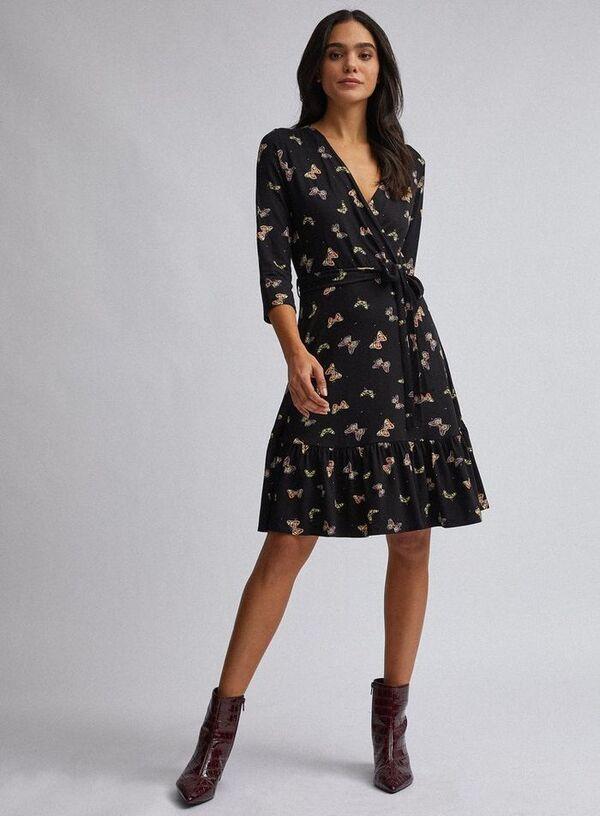 schwarzes Wickelkleid mit schönen Mustern Sommerkleider