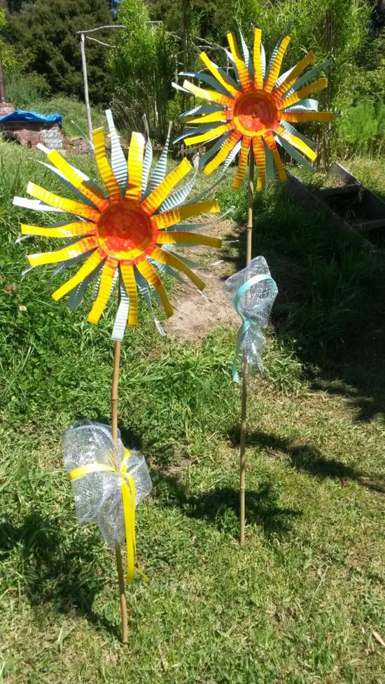 sonnenblumen aus blechdosen gartendeko selber machen