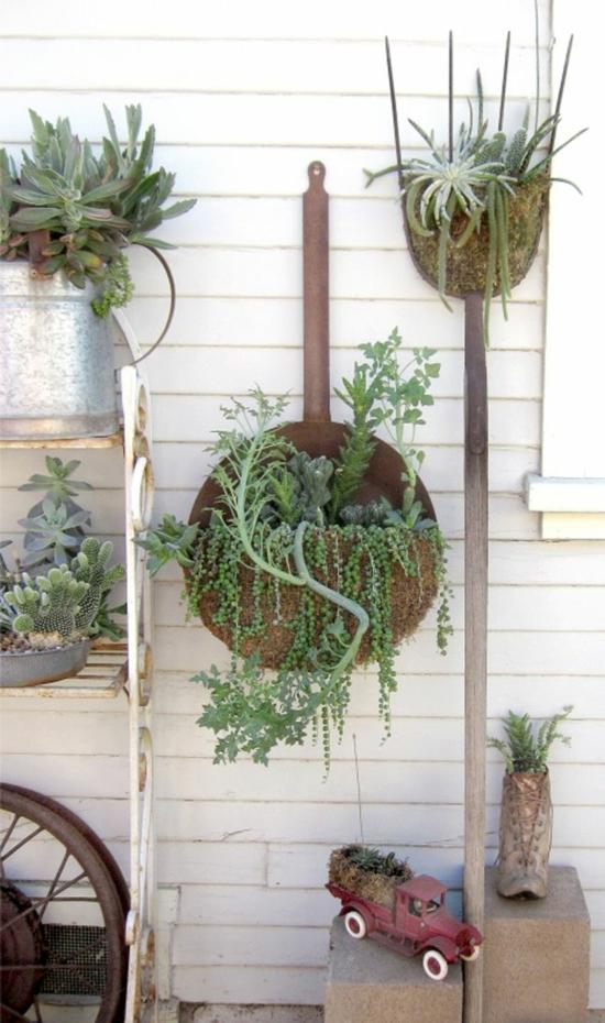 sukkulenten einpflanzen gartendeko aus gartenutensilien