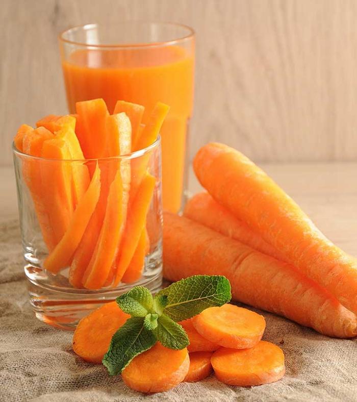 vor Coronavirus schützen Karotten essen Karottensaft trinken Minze