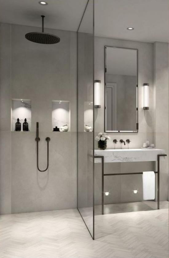 Baddesigns in Grau minimalistisches Bad richtige Beleuchtung Wandleuchten