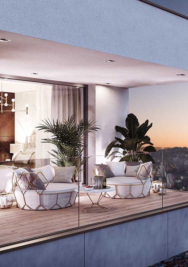 Balkon-Sofa - Spiegeleffekt - Panorama