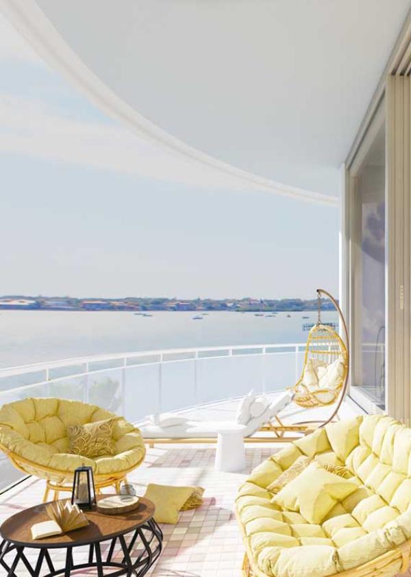 Balkon-Sofa - bequeme Möbeleinrichtung