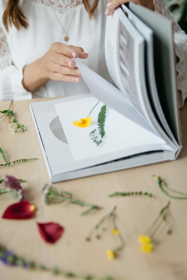 Blumen pressen im Buch trocknen lassen