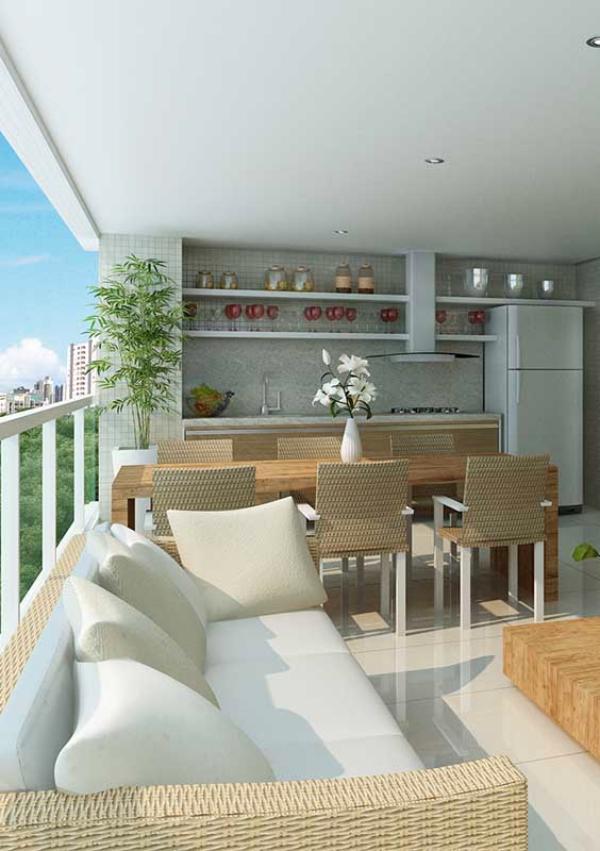 Braune und weiße Möbeleinrichtung - Balkon-Sofa