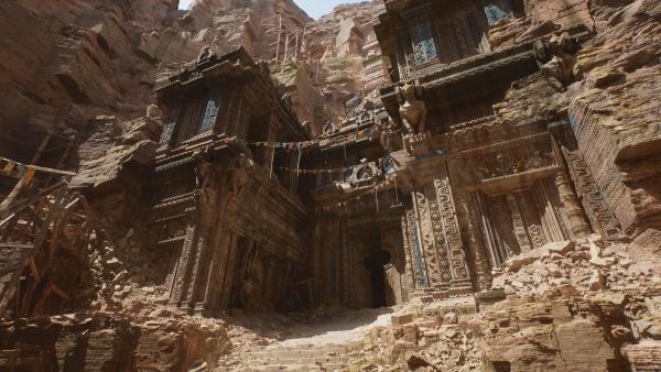 Epic Games kündigt Unreal Engine 5 mit atemberaubender PS5 Demo an tempel eingang präsentation