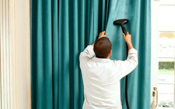 Gardinen waschen Pflegeanweisungen Tipps und Tricks Dampfreiniger