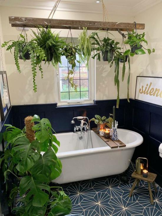 Grün im Bad schönes Badezimmer in Weiß und Dunkelblau Philodendron im Topf Balken Hängepflanzen