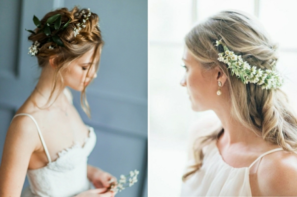 Hochzeitsfrisuren mit Blumen Schleierkraut Haarranke