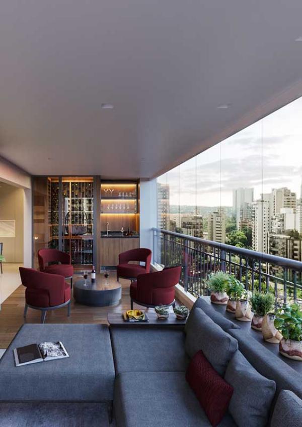 Kleiner Balkon - Balkon-Sofa - große Möbel